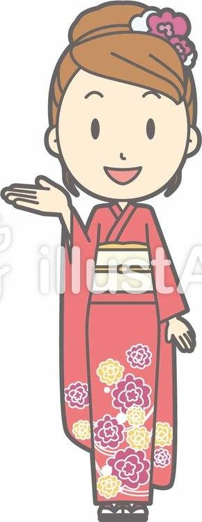 着物女性a-案内笑顔-全身のイラスト