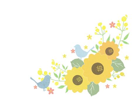 Cute sunflower and blue bird