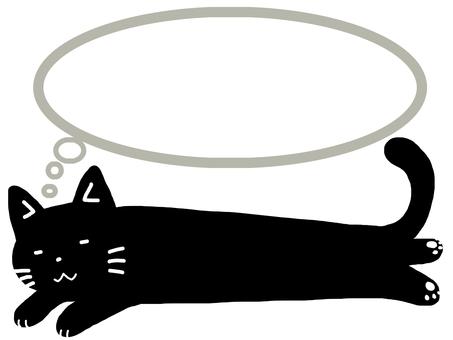 Black cat with serif frame