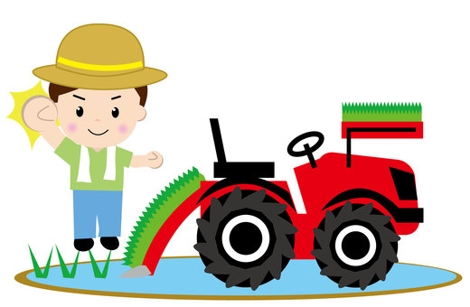 Rice planting machine (with people 2)