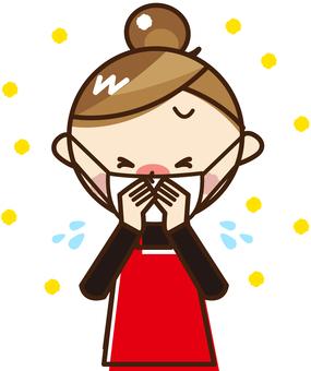 A woman sneezing _A192