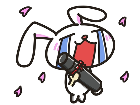 Rabbit crying with diploma (with cherry blossoms)