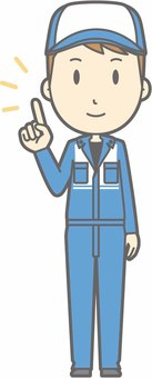 Mechanic male a - finger pointing smile - whole body