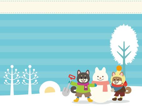 柴犬雪遊び背景素材【横】