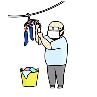 Laundry, middle-aged man, mask