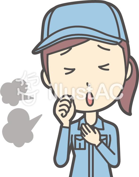 作業員女性ブルー-157-バストのイラスト