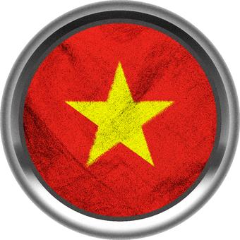 Vietnam flag silver frame