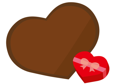 Heart-shaped chocolate and present box