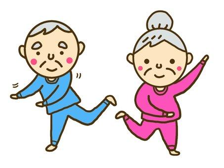 Grandfather and grandmother who dances dancing