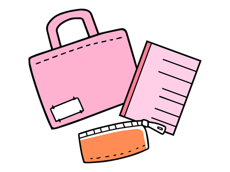 Learning bag, notebook and pencil case (pink)