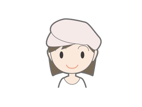 Female upper body wearing a beret cap