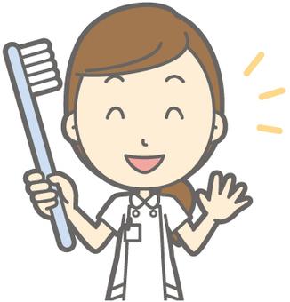 Female nurse - Toothbrush - Bust