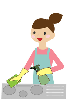 A woman cleaning a kitchen