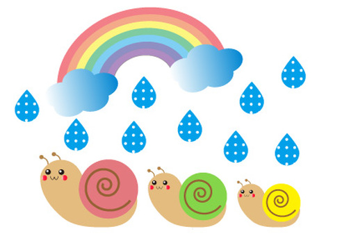 Cute rainy season and snail