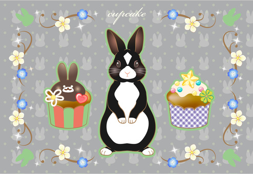 Usagi cupcake postcard black