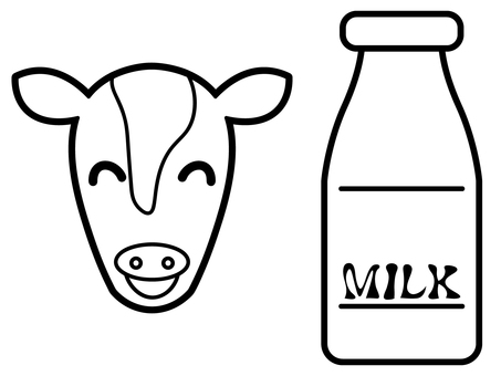 Coloring book of calf and milk bottle