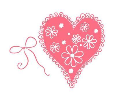 핑크 레이스있는 하트
