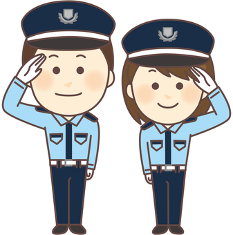 Security guards Gender pair (salute, whole body)