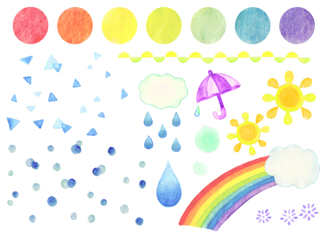 Watercolor illustration of weather with seven colors polka dots