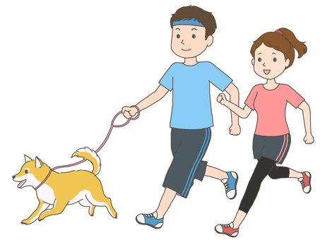 Jogging couple and dog