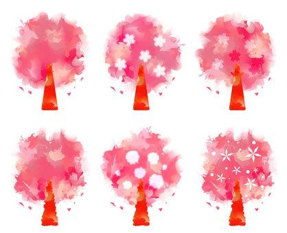 Watercolor cherry tree