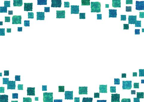水彩フレーム枠四角ドット模様背景飾り青緑