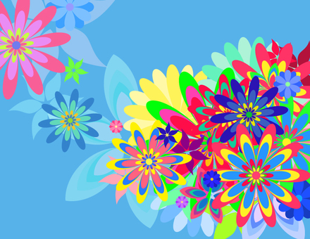 Colorful flowers _ light blue