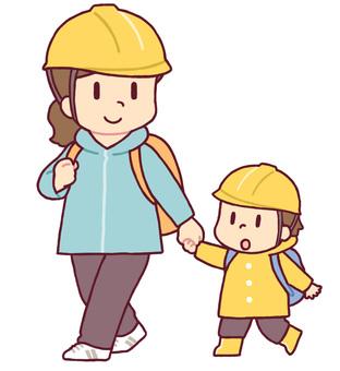 Evacuated parent and child