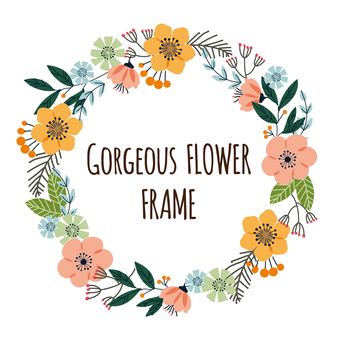 Colorful flower frame handwritten illustration material