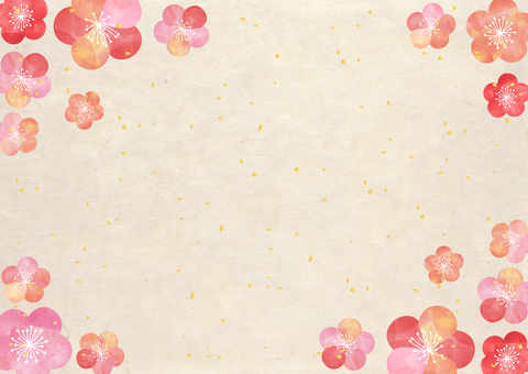 Plum _ Pastel _ Japanese paper frame 1484
