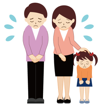 Male and female apologizing for family