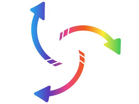 Outer winding arrow rainbow color
