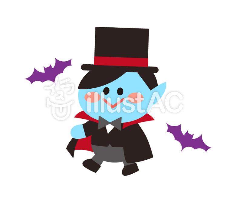吸血鬼ヴァンパイアの仮装をする子供イラスト No 1233484無料