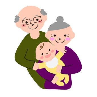 An old couple holding a baby
