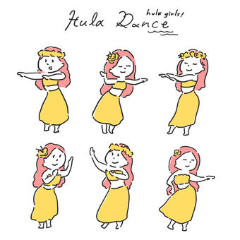 Hula dance illustration set