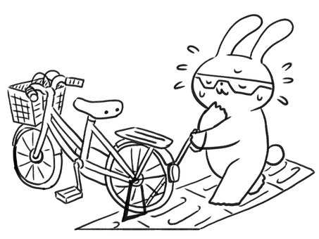 [Line drawing] Rabbit in trouble with a white cane