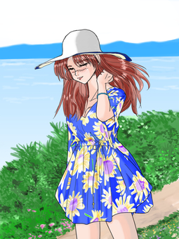 A woman who takes a walk in a swimsuit (with background)