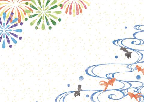 水彩風花火と金魚2