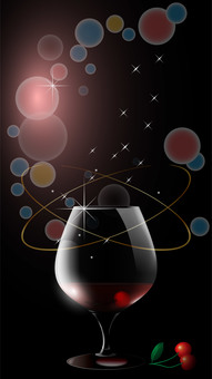 Vertical wallpaper with wine glasses and cherries