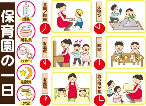 Day nurseries, day in kindergarten