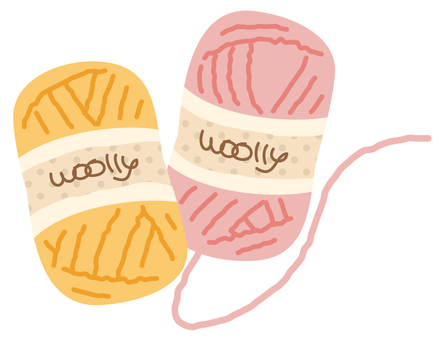 Wool (pink and yellow