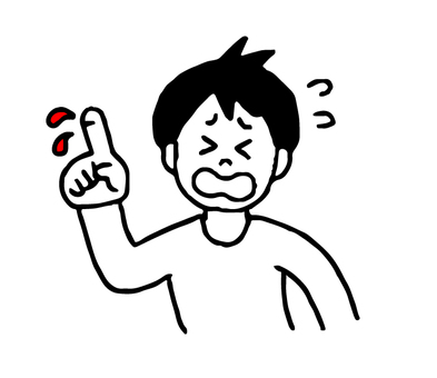 손가락에서 피가 나오는 남성 (간단)