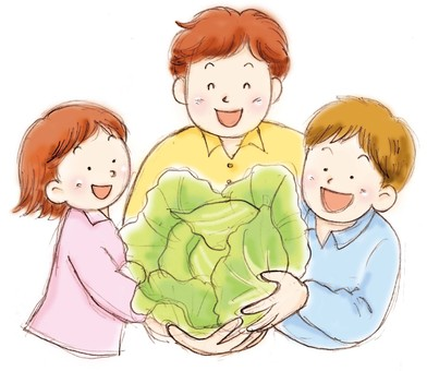 People with cabbage