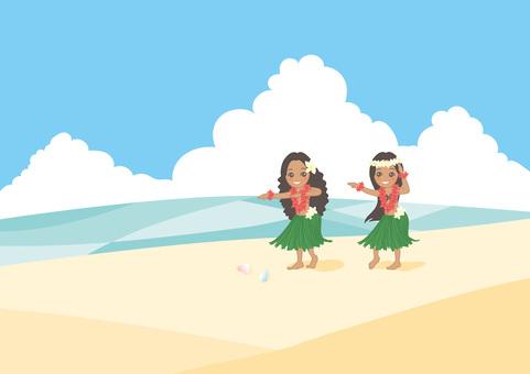 Hula Girls With Background