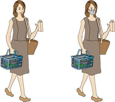 Women shopping for food (2 patterns)