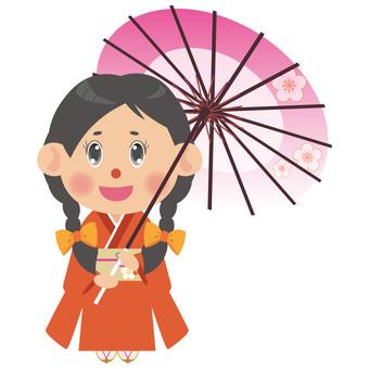 A woman in a kimono (umbrella / Mitsumi)