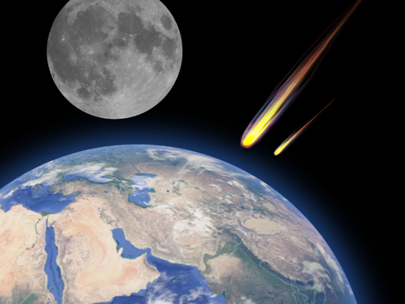 Image of meteorite falling on the earth