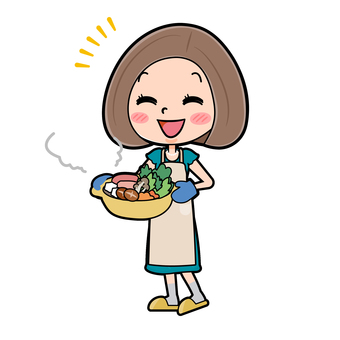 Green dress young woman cooking pot