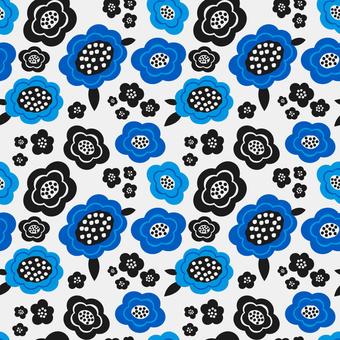 北欧風の青い花柄