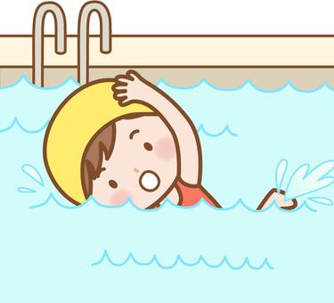 女孩:游泳池(爬行)